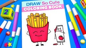 french fries coloring page for kids learn color and numbers