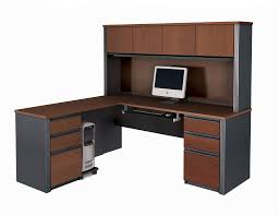 Computer Hutch Desk With Doors Furniture Astounding L Shaped Uncluttered Computer Desk With