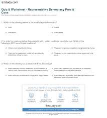 quiz u0026 worksheet representative democracy pros u0026 cons study com