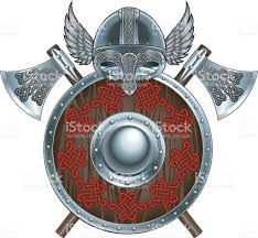 viking helmet with wingss shield and crossed battle axes stock