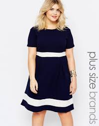 plus size skater dress with contrast band by praslin navy white