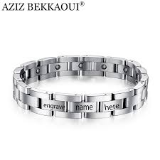 name link bracelet images Exquisite mens magnetic bracelets stainless steel magnetic therapy jpg
