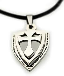 armor of god necklace psalms 28 7 18 stainless steel cross and shield necklace