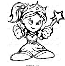 vector of a powerful cartoon princess holding up fists outlined