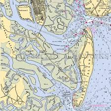 jekyll island map jekyll island brunswick colonels island nautical chart decor