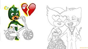 pj masks catboy love owlette coloring page free coloring pages