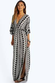 maria monochrome aztec kimono maxi dress boohoo