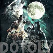 three wolves howling at the moon aurora sky print graphic tee t