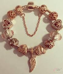 rose gold plated charm bracelet images Rose gold plated charm bracelet rose gold and angel wings charms JPG