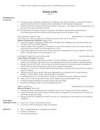 Sample Massage Therapist Resume by Physical Therapist Resume Continued On Page 2 2 Current