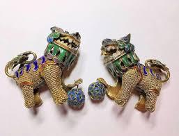 gold foo dogs pair of vintage gold gilded silver filigree enamel foo
