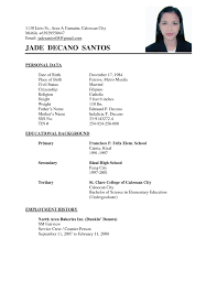 simple curriculum vitae format personal data in resume free resume exle and writing download