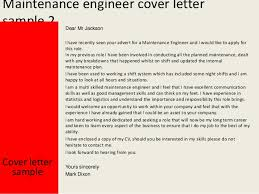 gallery of maintenance engineer cover letter maintenance