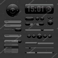 Two Dark Ui - dark web ui elements buttons switches bars stock vector