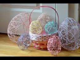 how to make string easter eggs with yarn balloons and mod podge