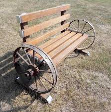 antique wheels steel bench