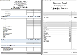 Simple Income Statement Template by Profit And Loss Statement Vs Income Statement Business Financial