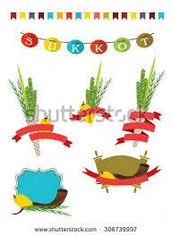 sukkah decorations sukot collection four symbols stock vector