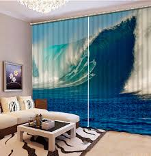Teal Living Room Curtains Online Get Cheap Waves Curtains Aliexpress Com Alibaba Group