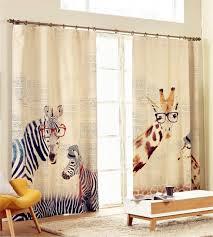 Zebra Room Divider Zebra Giraffe Cotton And Linen Fabric Printed 3d Curtains For