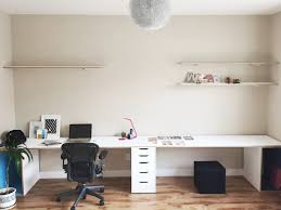 Long Desk With Drawers by Solution To A Seemingly Never Ending 14 Foot Wall Space A Never