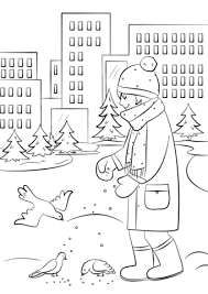 feeding birds winter coloring free printable coloring pages