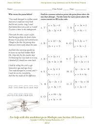 solving system of equations by elimination worksheet worksheets