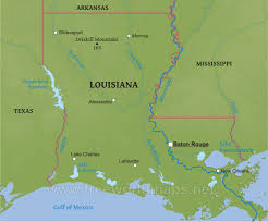 Louisiana Mississippi Map by Physical Map Of Louisiana