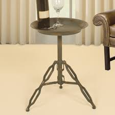 Industrial Accent Table Arresting Steel End Side Table 4x 7207 In Reclaimed Wood In