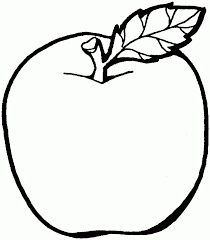 apple with leaf coloring page picture fruits drawings of