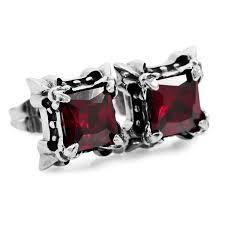 black earrings for guys inblue men s stainless steel stud earrings cz silver