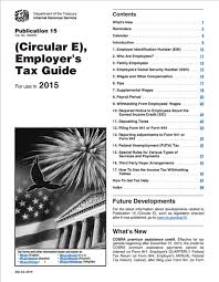 Irs Tax Withholding Tables Irs Circular E Employer U0027s Tax Guide Publication 15 Current Year