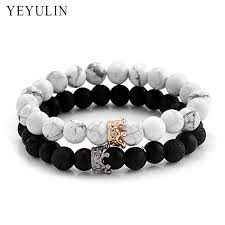black fashion jewelry bracelet images Trendy black white stone beads with gold silver color alloy crown jpg