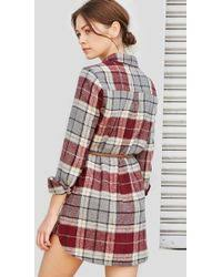 forever 21 belted plaid shirt dress in purple lyst