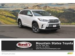 colors for toyota highlander 2017 blizzard white pearl toyota highlander limited awd 117412038