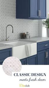 rustic blue gray kitchen cabinets geometric pearl white thassos shell tile in 2021 blue gray