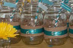 jar centerpieces for baby shower frasco tela mecate frascomanía