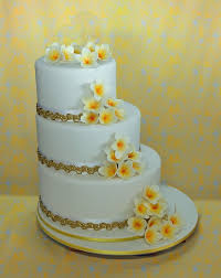 3 tier off set frangipani wedding cake on cake central