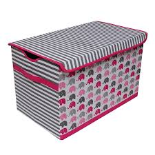 elephants pink grey storage box small large toy chest