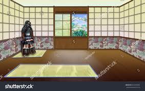 traditional japanese room interior digital painting stock