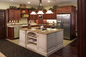 Custom Painted Kitchen Cabinets Dark Cherry Wooden Custom Kitchen Cabinet With Antique White