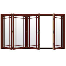Collapsible Patio Doors by Shop Jeld Wen W 4500 124 1875 In Grid Glass Mesa Red Wood Folding