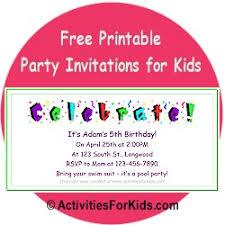 printable party invitations for kids birthday invitation