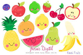 kawaii fruits clipart vectors illustrations creative market