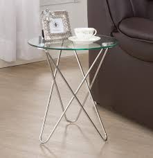Glass Accent Table Silver Finish Glass Accent Table Caravana Furniture