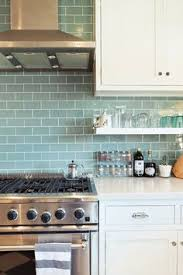 white and blue kitchen features white shaker cabinets paired with