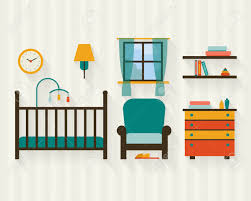 baby room with furniture nursery interior flat style vector
