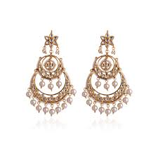 chandbali earrings pearl kundan chandbali earrings bvn071