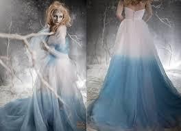 wedding dresses with purple detail frozen ombre blue wedding dress with detail couture