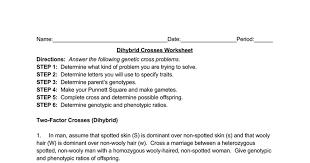Dihybrid Cross Punnett Square Worksheet Dihybrid Crosses Docs